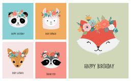 Cute animals heads with flower crown, vector illustrations for nursery design, poster, birthday greeting cards. Panda. Cute animals heads with flower crown stock illustration