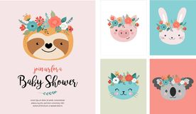 Cute animals heads with flower crown, vector illustrations for nursery design, poster, birthday greeting cards. Panda. Cute animals heads with flower crown vector illustration