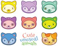 Cute animals heads vector set Stock Photos