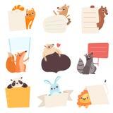 Cute Animals Holding Empty Banners Set, Funny Cartoon Cat, Dog, Bear, Fox, Sheep, Raccoon, Panda, Rabbit, Lion with. Blank Sign Boards Vector Illustration on stock illustration