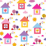 Cute animals in houses kids pattern Stock Photo