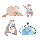 Cute animals hugs set. Happy hug day concept. colorful hand drawn illustration. Stock Photography