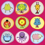 Cute animals icons for children Stock Images