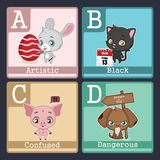 Animals illustrating adjectives - ABCD. Cute animals illustrating adjectives - ABCD Stock Images