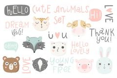 Cute Animals Isolated Illustration And Lettering For Children. Royalty Free Stock Images
