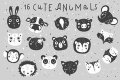 Cute animals isolated illustration for children in black and white colors. Vector image. Perfect for nursery posters, patterns, party invitation, cards, tags Stock Image