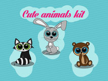 Cute animals kit. Littlem cute animals collection with big puppy eyes Royalty Free Stock Photo