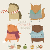 Cute animals living in the forest. Cute vector set Royalty Free Stock Image