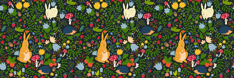 Cute animals on magic forest seamless pattern. Rabbit and hedgehog vector illustrations for baby. Background for kids, hand-drawn style. Site header royalty free illustration