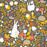 Cute animals on magic forest seamless pattern. Rabbit and hedgehog vector illustrations for baby Royalty Free Stock Photography