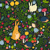 Cute animals on magic forest seamless pattern. Rabbit and hedgehog vector illustrations for baby. On a dark background. Hand-drawn style, square composition royalty free illustration