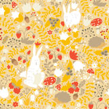 Cute animals on magic forest seamless pattern. Rabbit and hedgehog vector Stock Photography