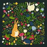 Cute animals on magic forest vector design. Cartoon rabbit and hedgehog illustrations for baby on dark background Royalty Free Stock Image