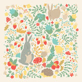 Cute animals on magic forest vector design. Cartoon rabbit and hedgehog illustrations for baby on light background Royalty Free Stock Photography