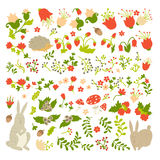 Cute animals on magic forest vector design. Cartoon rabbit and hedgehog illustrations for baby on light background Royalty Free Stock Images