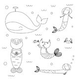 Cute animals mermaids coloring pages. Hand drawn black and white vector illustration of cute whale, mermaid cat, dachshunds, panda, fish, crab, swimming in the Royalty Free Stock Photo