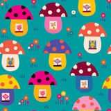 Cute animals in mushroom houses kids pattern Stock Photo