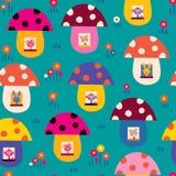 Cute animals in mushroom houses kids pattern