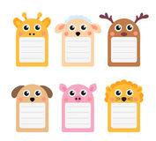 Cute animals note set of scrapbook elements. Vector illustration Royalty Free Stock Photo