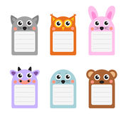 Cute animals note set of scrapbook elements. Vector illustration Stock Photo