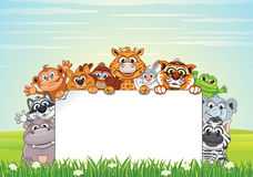 Free Cute Animals On Nature. Vector Cartoon Background Royalty Free Stock Photos - 87452148
