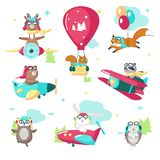 Cute funny pilot animals vector isolated illustration royalty free illustration