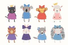 Cute animals princesses set