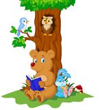 Cute animals reading book Royalty Free Stock Photo