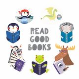 Cute animals reading books set vector illustration