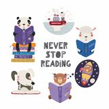 Cute animals reading books set royalty free illustration