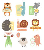 Cute Animals with Ribbons and Boards for Text Stock Photography