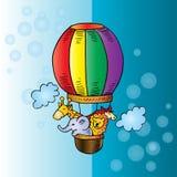 Cute animals ride a hot air balloon. Cartoon vector illustration