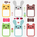 Cute animals scrapbook elements Royalty Free Stock Images