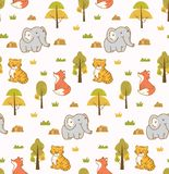 Cute animals seamless background with elephant, tiger and fox stock illustration