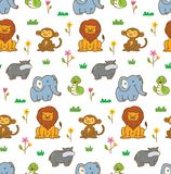 Cute animals seamless background with lion, monkey, snake, etc vector illustration