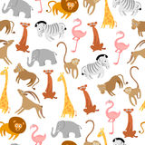 Cute Animals Seamless Pattern Stock Image