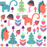Cute animals seamless pattern with cats and hedgehogs and seamle Stock Photo
