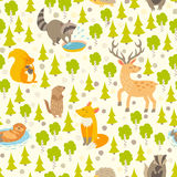 Cute animals seamless pattern Royalty Free Stock Images
