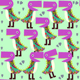 Cute animals seamless pattern with monsters and  seamless patter Royalty Free Stock Photos