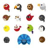 Cute Animals Set of Birds icon Stock Photos