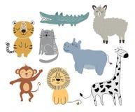 Cute animals set. childish vector illustration scandinavian stylr design concept for card,kids clothes,baby shower stock illustration