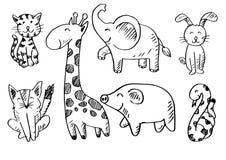 Cute animals set, fox,giraffe, cat, elephant,pig , snake, and rabbit. Cute animals set on white background vector illustration
