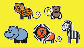 Cute animals set - Illustration Stock Photo