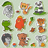 Cute animals set, vector kids stickers with baby animals. (rabbit, dog, cat, panda, bear, mouse, hedgehog, bird Stock Images