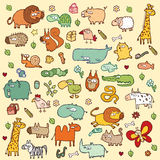 Cute Animals SET XL. Cute and funny animals and everyday objects collection. Each element is seperate group (only in  files). Illustration is in eps8  mode Stock Photo