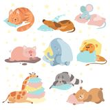 Cute Animals Sleeping Set, Cat, Dog, Mouse, Pig, Elephant, Lion, Giraffe, Raccoon, Bear Lying on Pillows Vector. Illustration on White Background royalty free illustration