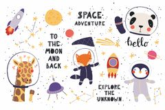 Cute animals in space big set. Big set of cute funny animal astronauts in space, with planets, stars, quotes. Isolated objects on white background. Vector Stock Image
