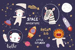 Cute animals in space big set royalty free stock photography