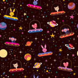 Cute animals in space kids pattern