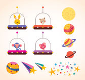 Cute animals in space ships kids design elements set Royalty Free Stock Photos